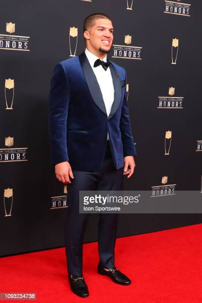 Chicago Bears Trey Burton poses for photos on the red carpet at the NFL Honors on February 2 2019 at the Fox Theatre in Atlanta GA