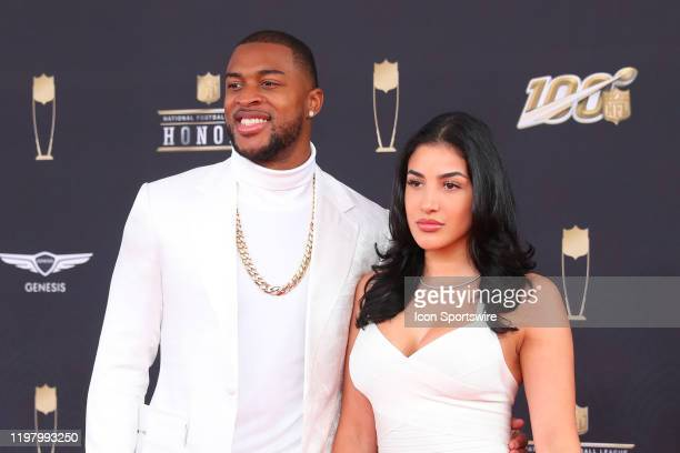 Chicago Bears wide receiver Allen Robinson and his girlfriend Alyssa pose prior to the NFL Honors on February 1, 2020 at the Adrienne Arsht Center in...