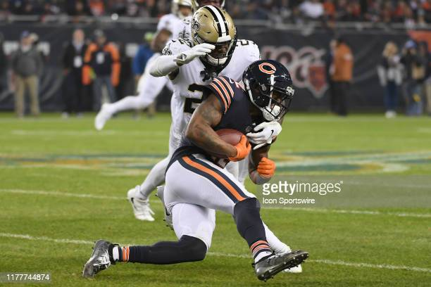 Chicago Bears wide receiver Allen Robinson battles with New Orleans Saints defensive back Chauncey Gardner-Johnson in game action during a game...