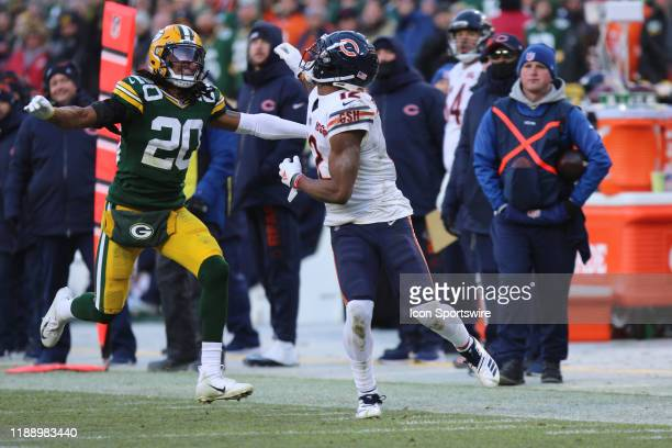 Chicago Bears wide receiver Allen Robinson breaks coverage on Green Bay Packers cornerback Kevin King during a game between the Green Bay Packers and...