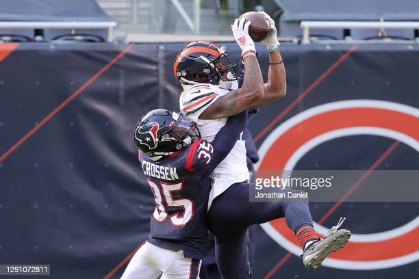Chicago Bears wide receiver Allen Robinson catches a pass against Houston Texans cornerback Keion Crossen during the second quarter at Soldier Field...