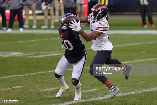 Chicago Bears wide receiver Allen Robinson catches a touchdown pass against Houston Texans outside linebacker Tyrell Adams during the second quarter...