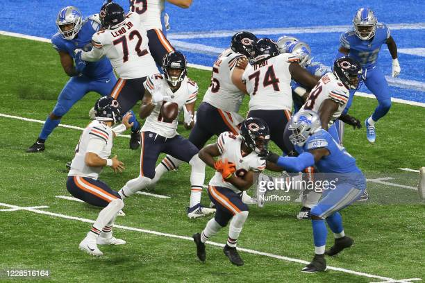 Chicago Bears wide receiver Allen Robinson catches the pass from Chicago Bears quarterback Mitchell Trubisky during the second half of an NFL...