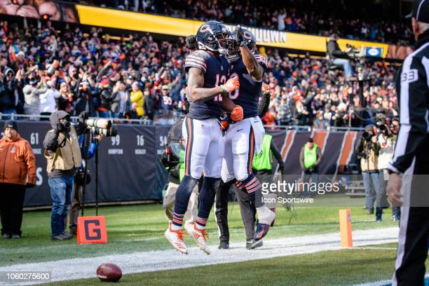 Chicago Bears wide receiver Allen Robinson celebrates his touchdown reception with Chicago Bears running back Benny Cunningham in the 1st quarter...