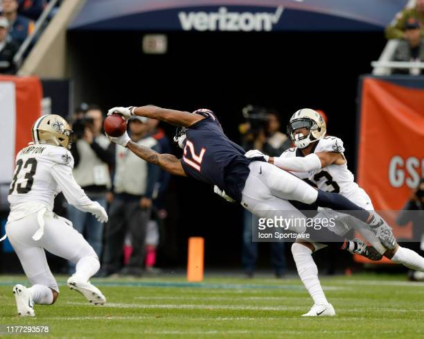 Chicago Bears wide receiver Allen Robinson drops a pass against New Orleans Saints cornerback Marshon Lattimore during the game between the New...