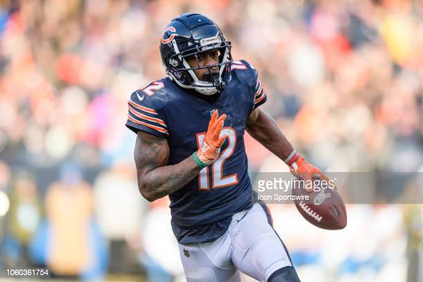 Chicago Bears wide receiver Allen Robinson runs after a catch and will score in the 3rd quarter during an NFL football game between the Detroit Lions...