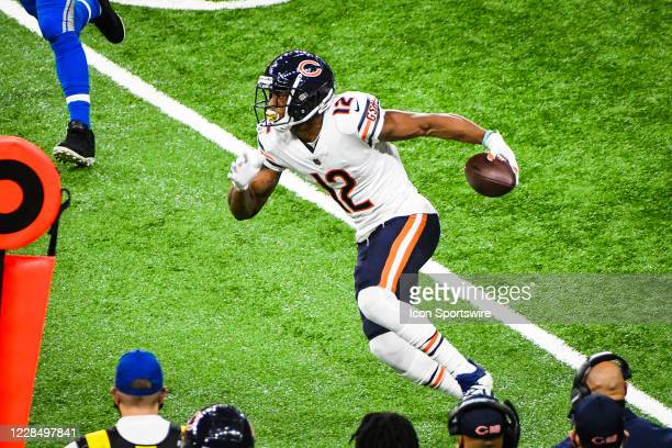 Chicago Bears wide receiver Allen Robinson runs down the sidelines for a first down during the Detroit Lions versus Chicago Bears game on Sunday...
