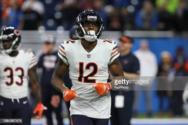Chicago Bears wide receiver Allen Robinson runs onto the field during warmups before an NFL football game against the Detroit Lions in Detroit,...