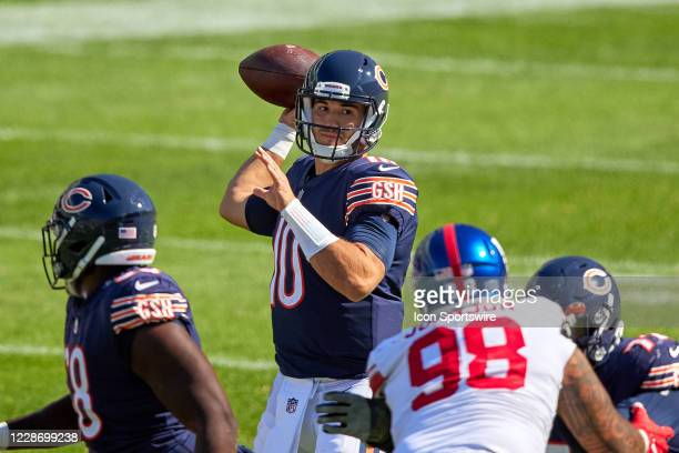Chicago Bears wide receiver Allen Robinson throws the football in action during a game between the Chicago Bears and the New York Giants on September...