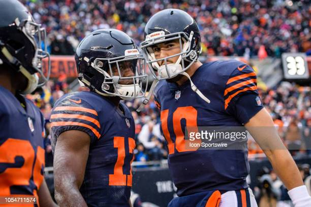 Chicago Bears Wide Receiver Anthony Miller and Chicago Bears Quarterback Mitchell Trubisky celebrate Miller's touchdown catch thrown by Trubisky in...