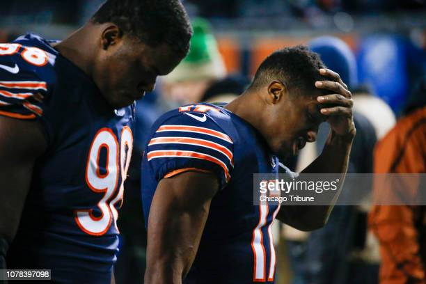 Chicago Bears wide receiver Anthony Miller and Chicago Bears defensive tackle Bilal Nichols walk off the field following a 1615 loss to the...
