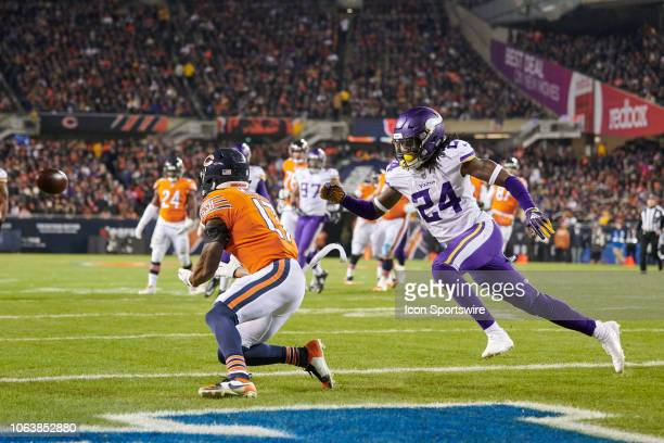 Chicago Bears wide receiver Anthony Miller beats Minnesota Vikings defensive back Holton Hill to catch the football for a touchdown in action during...