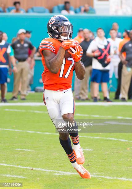 Chicago Bears Wide Receiver Anthony Miller catches a pass and runs into the end zone to score a touchdown during the NFL football game between the...