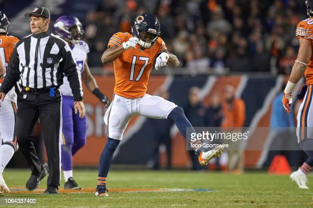 Chicago Bears wide receiver Anthony Miller celebrates after a play in action during a NFL game between the Chicago Bears and the Minnesota Vikings on...