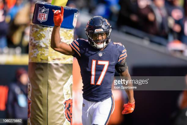 Chicago Bears wide receiver Anthony Miller celebrates his touchdown reception in the 2nd quarter during an NFL football game between the Detroit...