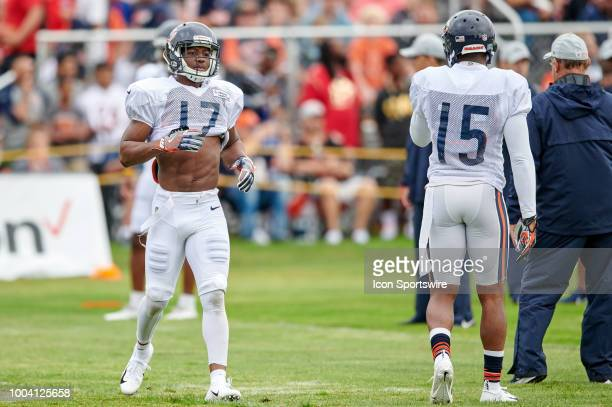 Chicago Bears wide receiver Anthony Miller participates in drills during the Chicago Bears training camp on July 22 2018 at Olivet Nazarene...