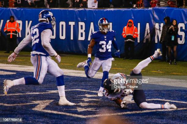 Chicago Bears wide receiver Anthony Miller scores the gametying touchdown in front of New York Giants outside linebacker Alec Ogletree and New York...