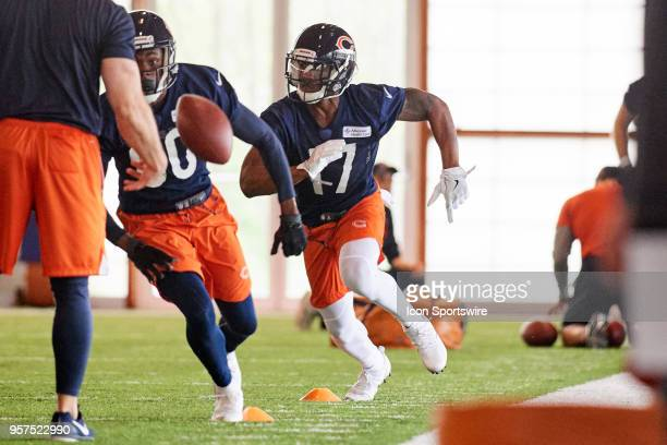 Chicago Bears wide receiver Anthony Miller warms up during the Bears Rookie Minicamp on May 11 2018 at Halas Hall in Lake Forest IL