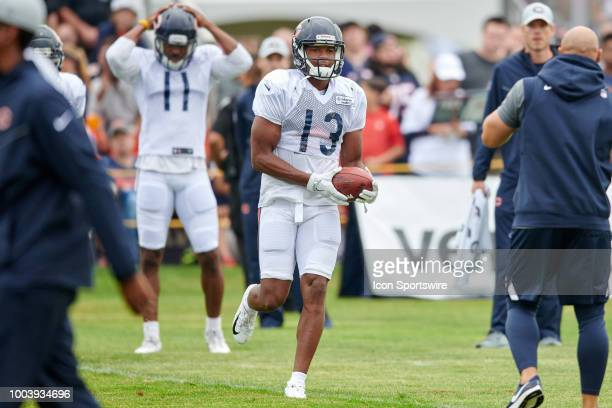 Chicago Bears wide receiver Bennie Fowler participates in drills during the Chicago Bears training camp on July 22 2018 at Olivet Nazarene University...