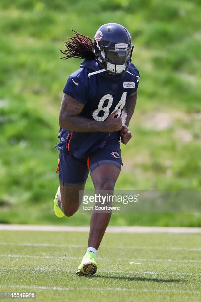 Chicago Bears wide receiver Cordarrelle Patterson warms up in action during the Chicago Bears organized team activities or OTA on May 22, 2019 at...