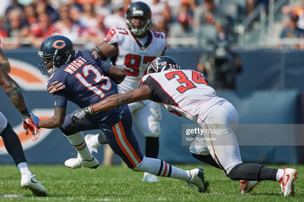 Chicago Bears wide receiver Kendall Wright (13) battles with Atlanta Falcons cornerback Brian Poole (34) during an NFL football game between the Atlanta Falcons and the Chicago Bears on September 10, 2017 at Soldier Field in Chicago, IL.