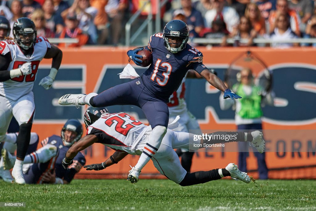 Chicago Bears wide receiver Kendall Wright (13) leaps over Atlanta Falcons cornerback Robert Alford (23) during an NFL football game between the Atlanta Falcons and the Chicago Bears on September 10, 2017 at Soldier Field in Chicago, IL.