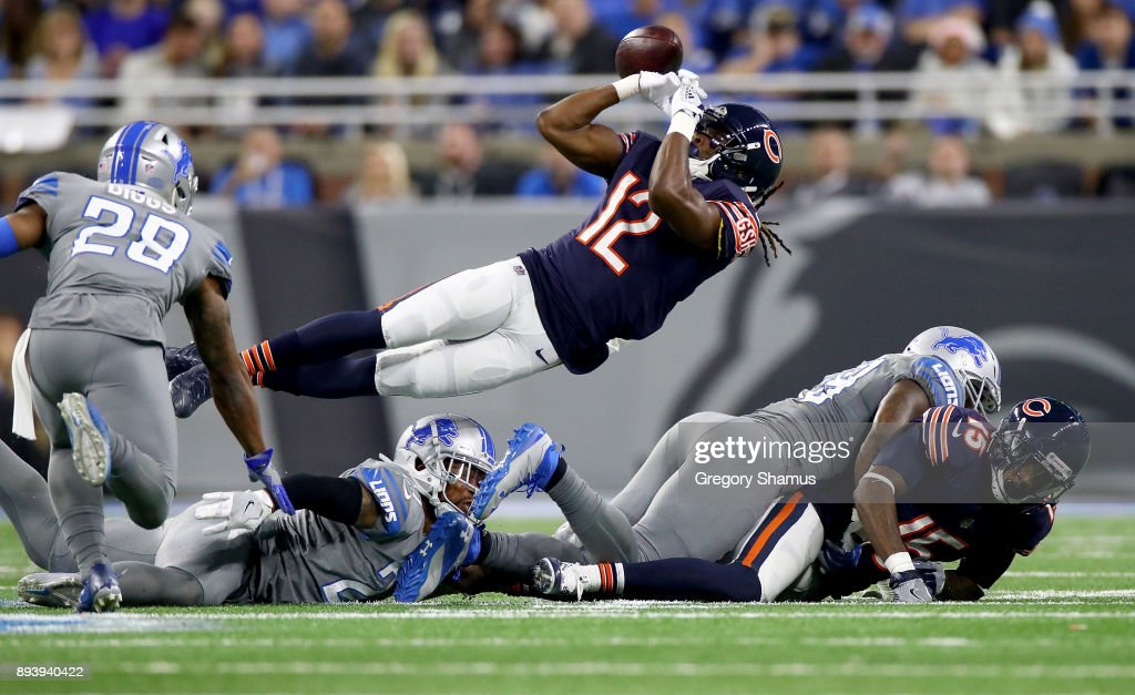 Chicago Bears wide receiver Markus Wheaton #12 juggles the ball for an incomplete pass against the Detroit Lions during the second half at Ford Field on December 16, 2017 in Detroit, Michigan.