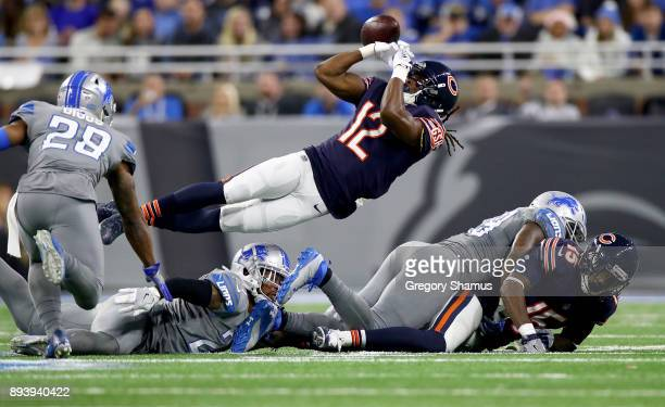 Chicago Bears wide receiver Markus Wheaton juggles the ball for an incomplete pass against the Detroit Lions during the second half at Ford Field on...