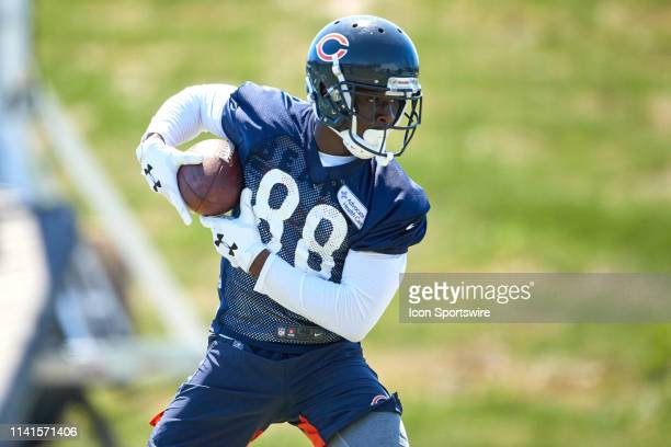Chicago Bears wide receiver Riley Ridley warms up with the football during the Chicago Bears Rookie Mini-Camp on May 5, 2019 at Halas Hall, in Lake...