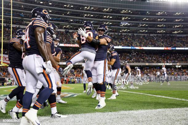 fe8f9bd750a Chicago Bears wide receiver Victor Cruz celebrates with teammates after  scoring a touchdown during the first