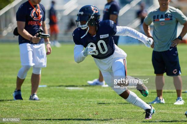 Chicago Bears wide receiver Victor Cruz partakes in a practice session during the Chicago Bears Training Camp on July 29 2017 at Olivet Nazarene...