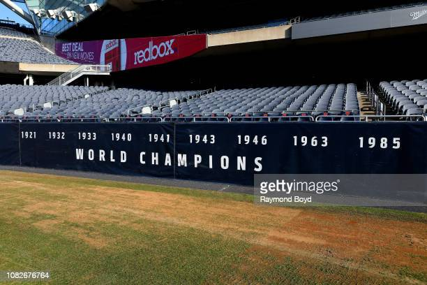 Chicago Bears 'World Champions' banner is displayed along the sidelines at Soldier Field home of the Chicago Bears football team in Chicago Illinois...