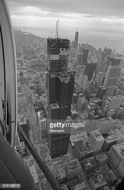 bird's eye view of the world's tallest building the Sears Tower during topping out ceremonies The 110story450 ft office structure which is scheduled...
