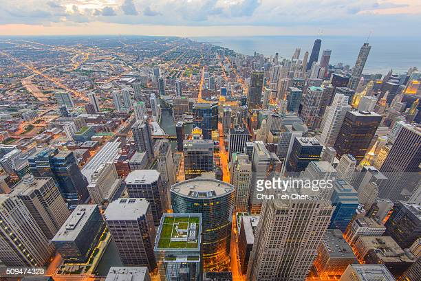 chicago bird's-eye view - cook county illinois stock photos and pictures