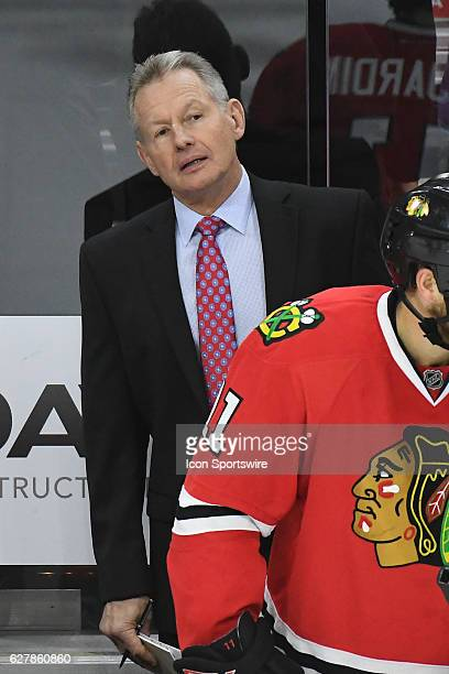 Chicago Blackhawks Assistant Coach Mike Kitchen looks on during a National Hockey League game between the Chicago Blackhawks and the Philadelphia...