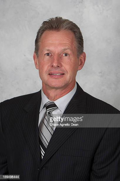 Chicago Blackhawks Assistant Coach Mike Kitchen poses for his official headshot for the 2012-2013 season on January 13, 2013 at the United Center in...