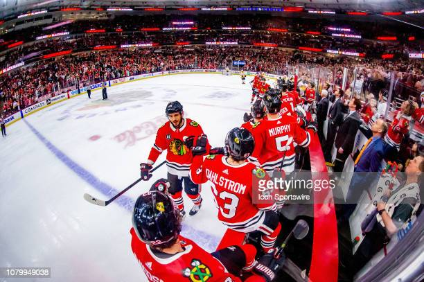 Chicago Blackhawks center Artem Anisimov celebrates his goal during a game between the Nashville Predators and the Chicago Blackhawks on January 9 at...