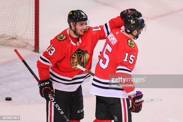 Chicago Blackhawks center Artem Anisimov celebrates his goal with Chicago Blackhawks left wing Tomas Jurco during a game between the Chicago...
