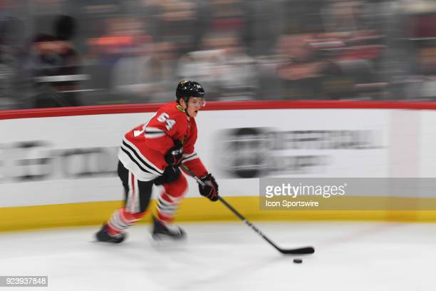 Chicago Blackhawks center David Kampf controls the puck during a game between the Chicago Blackhawks and the San Jose Sharks on February 23 at the...