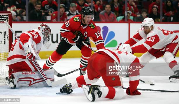 Chicago Blackhawks center Jonathan Toews can't score against Detroit Red Wings goaltender Petr Mrazek in the first period on Sunday Jan 14 2018 at...
