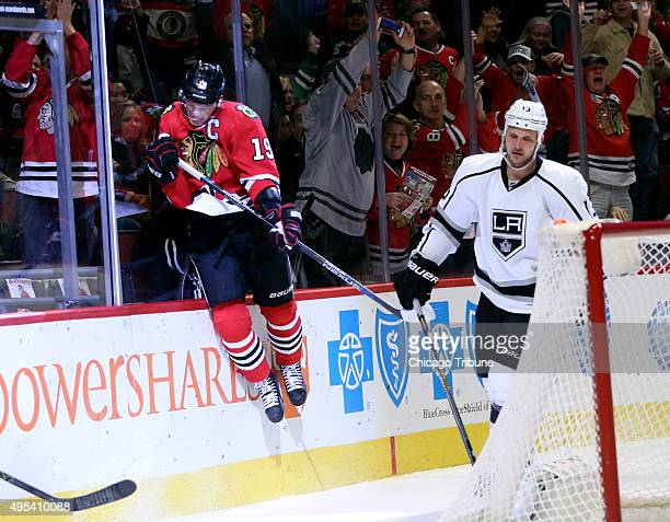Chicago Blackhawks center Jonathan Toews celebrates his goal against the Los Angeles Kings during the first period on Monday Nov 2 at the United...