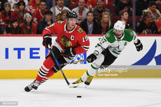 Chicago Blackhawks center Jonathan Toews controls the puck against Dallas Stars right wing Alexander Radulov in the second period during a game...