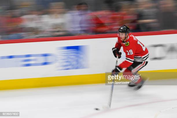 Chicago Blackhawks center Jonathan Toews controls the puck during a game between the Chicago Blackhawks and the San Jose Sharks on February 23 at the...