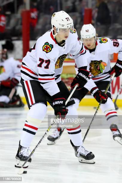 Chicago Blackhawks center Kirby Dach prior to the National Hockey League game between the New Jersey Devils nd the Chicago Blackhawks on December 6...