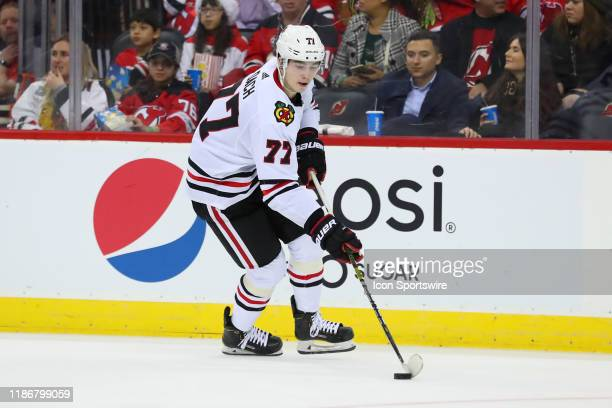 Chicago Blackhawks center Kirby Dach skates during the second period of the National Hockey League game between the New Jersey Devils nd the Chicago...