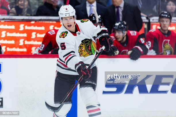 Chicago Blackhawks Defenceman Connor Murphy follows through on a pass during third period National Hockey League action between the Chicago...