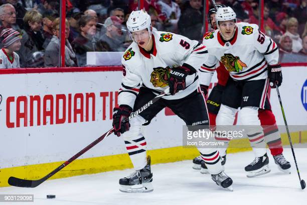 Chicago Blackhawks Defenceman Connor Murphy looks to pass the puck during second period National Hockey League action between the Chicago Blackhawks...