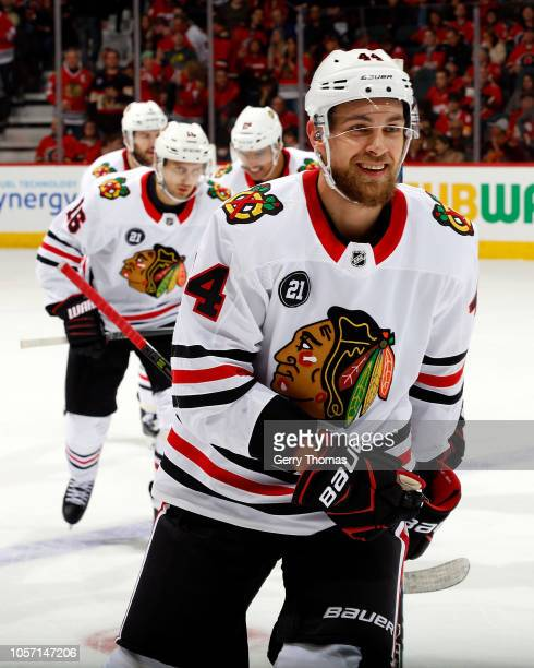 Chicago Blackhawks Defenceman Jan Rutta celebrates a first period goal against the Calgary Flames during an NHL game on November 3 2018 at the...
