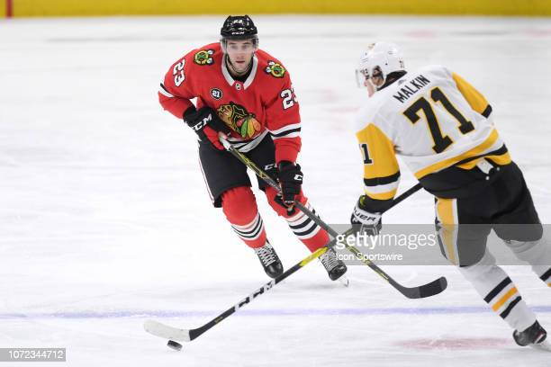 Chicago Blackhawks defenseman Brandon Manning battles with Pittsburgh Penguins center Evgeni Malkin in second period action of an NHL game between...