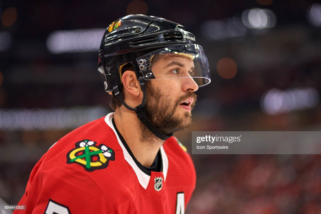 Chicago Blackhawks defenseman Brent Seabrook (7) looks on in the second period during a Preseason game between the Chicago Blackhawks and the Columbus Blue Jackets on September 23, 2017, at the United Center in Chicago, IL.